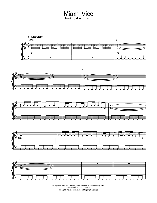 Theme from Miami Vice Sheet Music