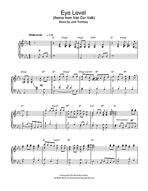 Partition piano Eye Level (theme from Van Der Valk) de Jack Trombey - Piano Solo