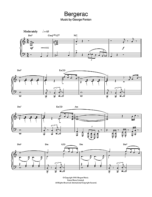 Theme from Bergerac Sheet Music