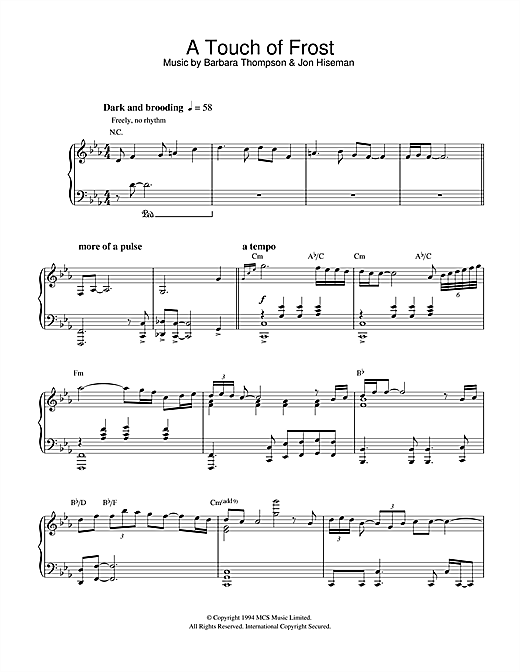 Partition piano A Touch Of Frost de Barbara Thompson - Piano Solo