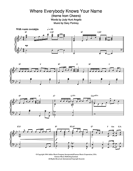 Partition piano Where Everybody Knows Your Name (theme from Cheers) de Gary Portnoy - Piano Solo