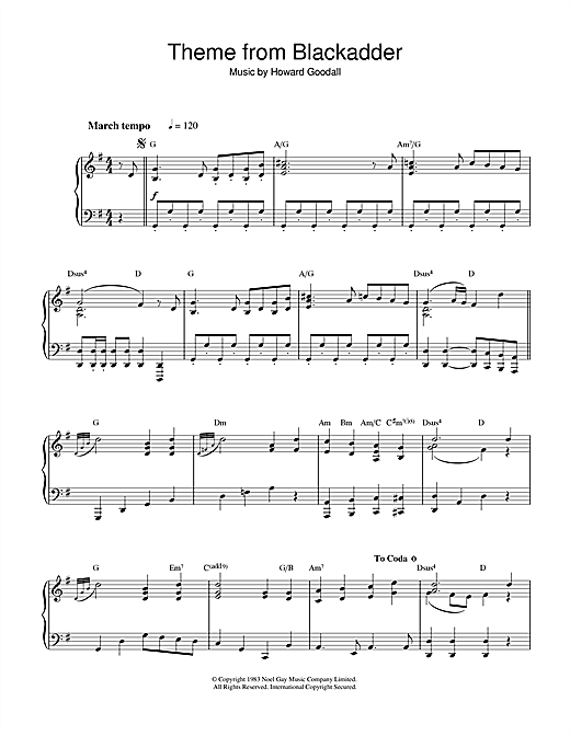 Theme from Blackadder Sheet Music