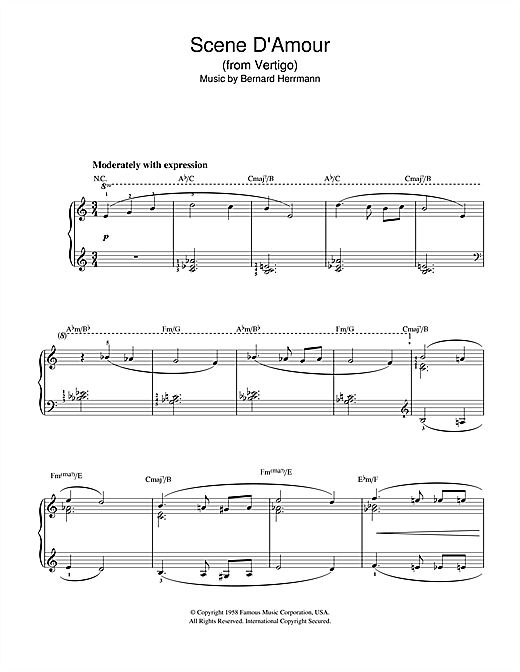 Scene D'Amour (from Vertigo) Sheet Music