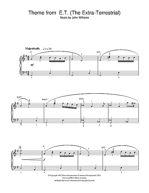 Partition piano Theme From E.T. (The Extra-Terrestrial) de John Williams - Piano Facile