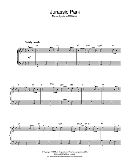 Theme from jurassic park sheet music by john williams for Creatore facile piano piano gratuito