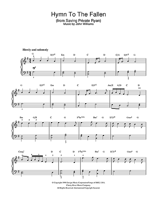 Hymn To The Fallen (from Saving Private Ryan) Sheet Music