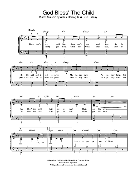 God Bless' The Child (Easy Piano)