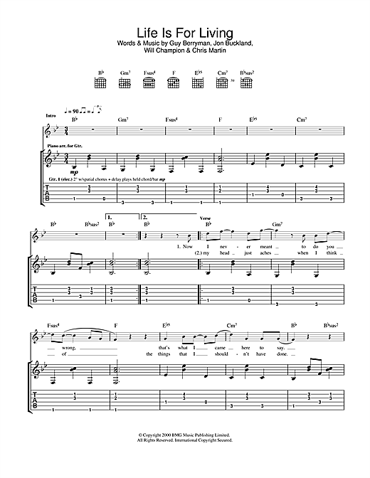 Tablature guitare Life Is For Living de Coldplay - Tablature Guitare