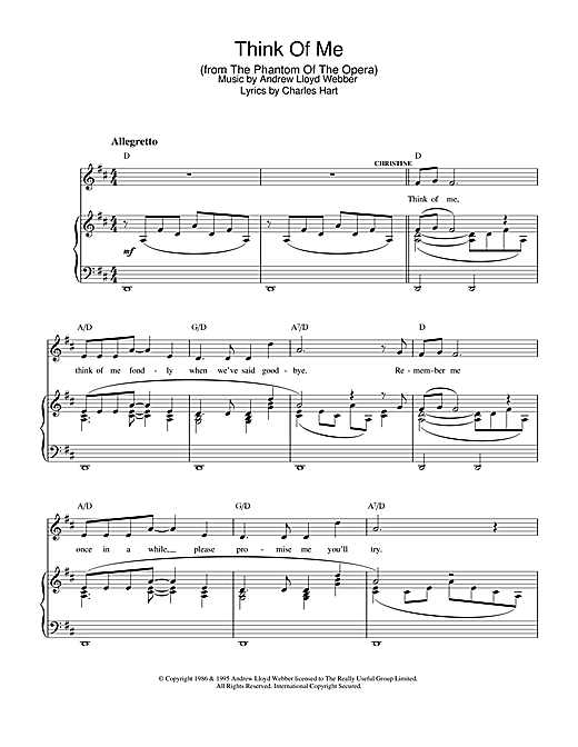 Think Of Me (from The Phantom Of The Opera) Sheet Music
