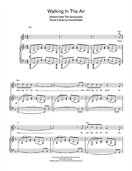 Partition piano Walking In The Air (theme from The Snowman) de Howard Blake - Piano Voix Guitare