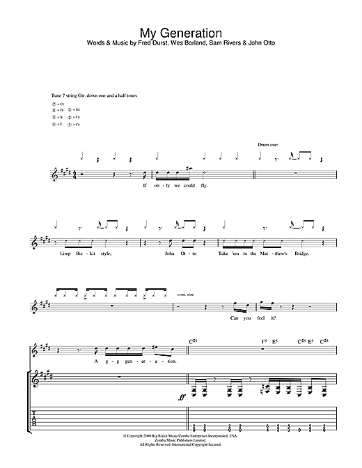 Tablature guitare My Generation de Limp Bizkit - Tablature Guitare