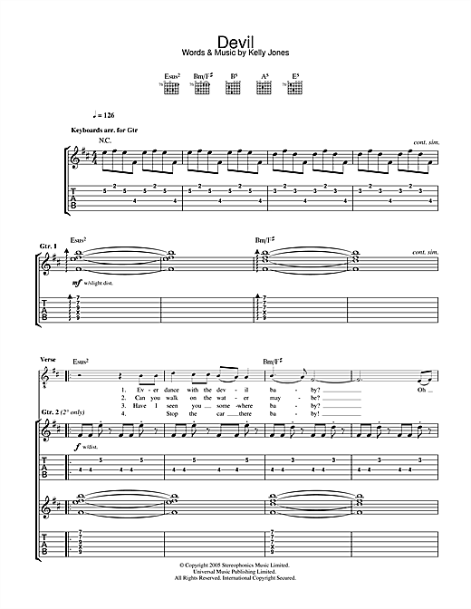 Tablature guitare Devil de Stereophonics - Tablature Guitare