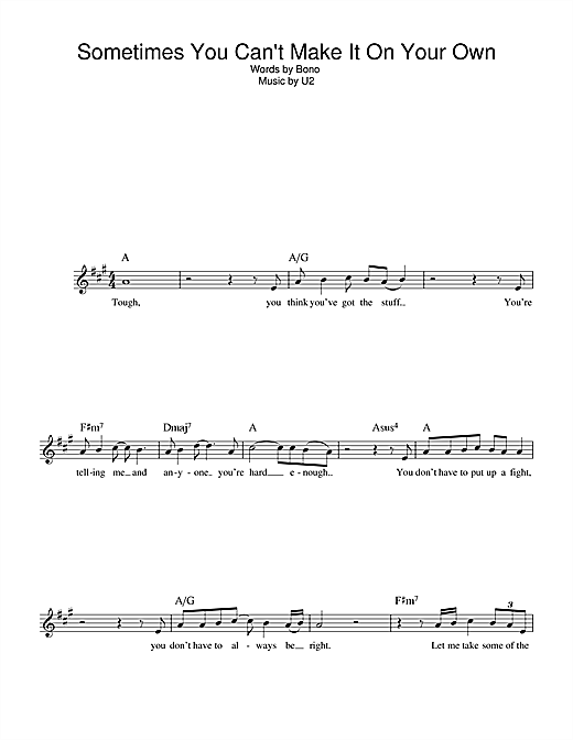 Sometimes You Can't Make It On Your Own (Lead Sheet / Fake Book)
