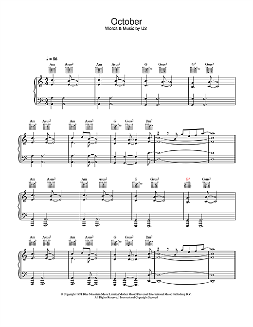October Sheet Music