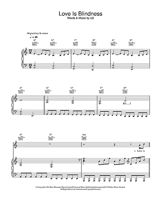 Love Is Blindness Sheet Music