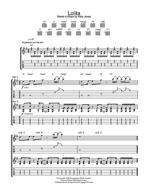 Tablature guitare Lolita de Stereophonics - Tablature Guitare