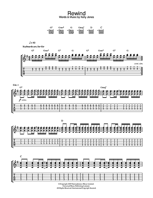Tablature guitare Rewind de Stereophonics - Tablature Guitare