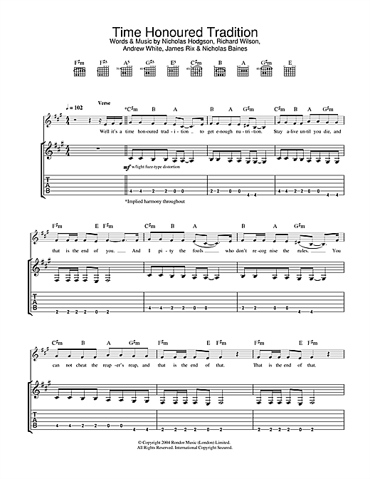 Time Honoured Tradition Sheet Music