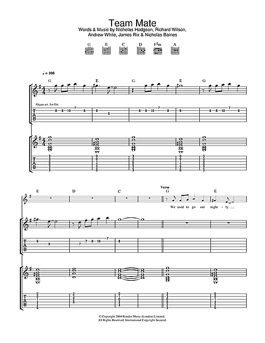 Team Mate Sheet Music