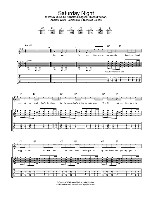 Tablature guitare Saturday Night de Kaiser Chiefs - Tablature Guitare