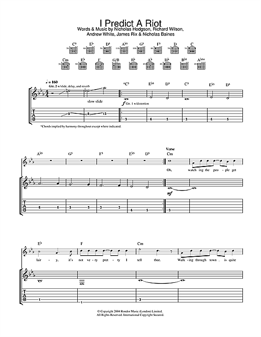 Tablature guitare I Predict A Riot de Kaiser Chiefs - Tablature Guitare