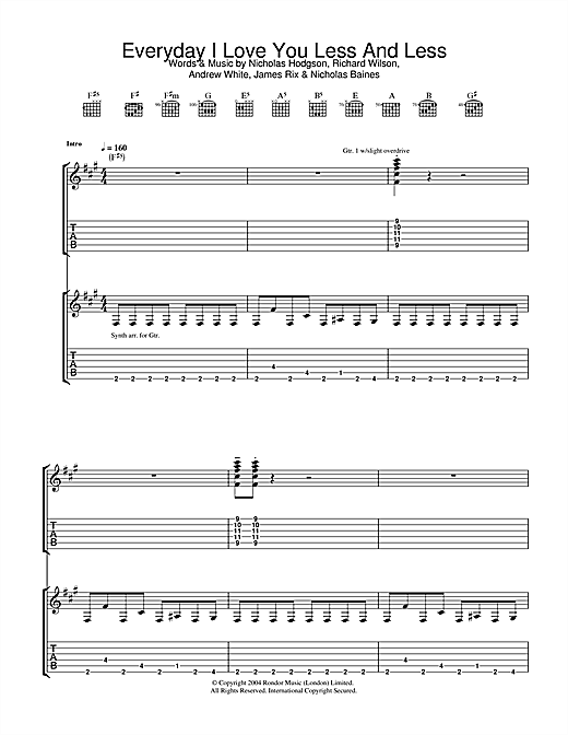 Tablature guitare Everyday I Love You Less And Less de Kaiser Chiefs - Tablature Guitare