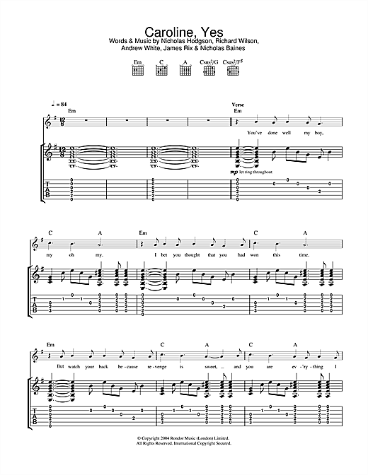 Tablature guitare Caroline, Yes de Kaiser Chiefs - Tablature Guitare