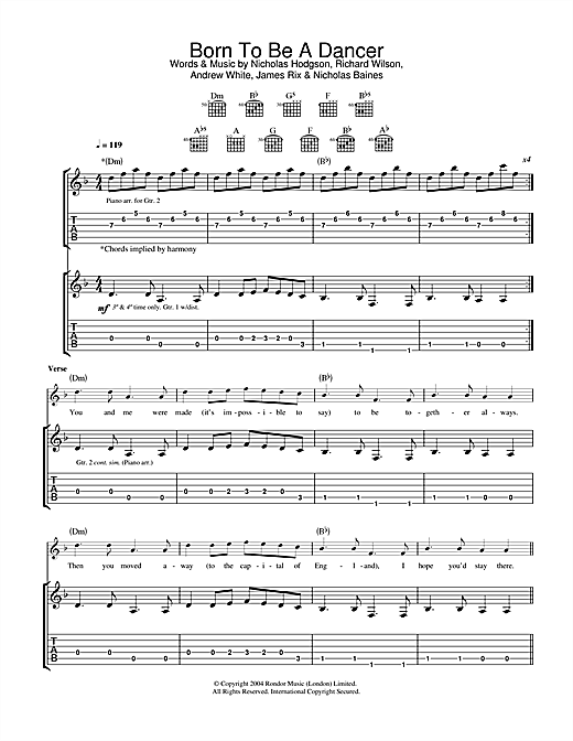 Tablature guitare Born To Be A Dancer de Kaiser Chiefs - Tablature Guitare