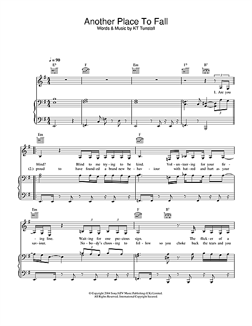 Another Place To Fall Sheet Music