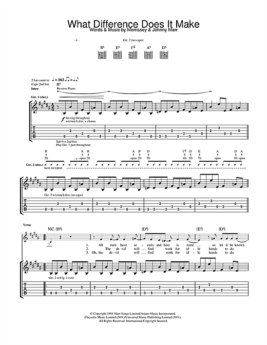 Tablature guitare What Difference Does It Make? de The Smiths - Tablature Guitare