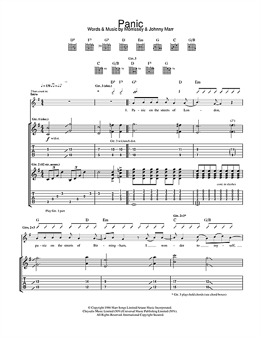 Tablature guitare Panic de The Smiths - Tablature Guitare
