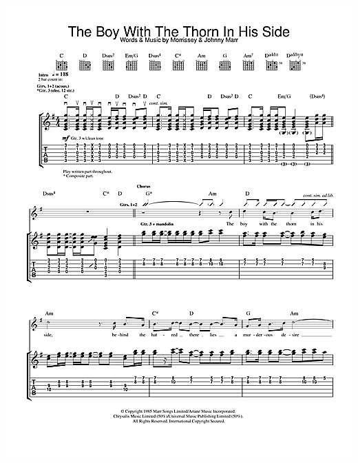 Tablature guitare The Boy With The Thorn In His Side de The Smiths - Tablature Guitare