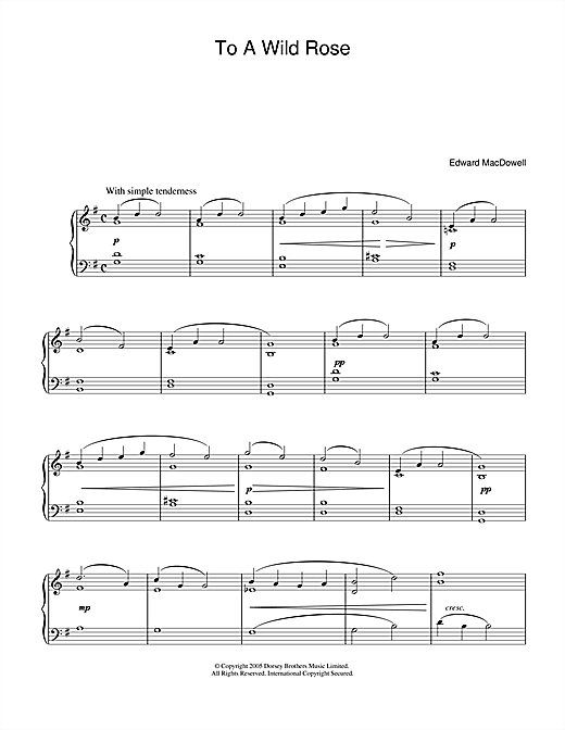Partition piano To A Wild Rose de Edward MacDowell - Piano Solo