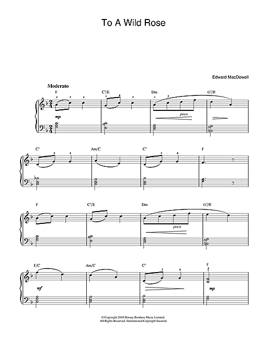 Partition piano To A Wild Rose de Edward MacDowell - Piano Facile
