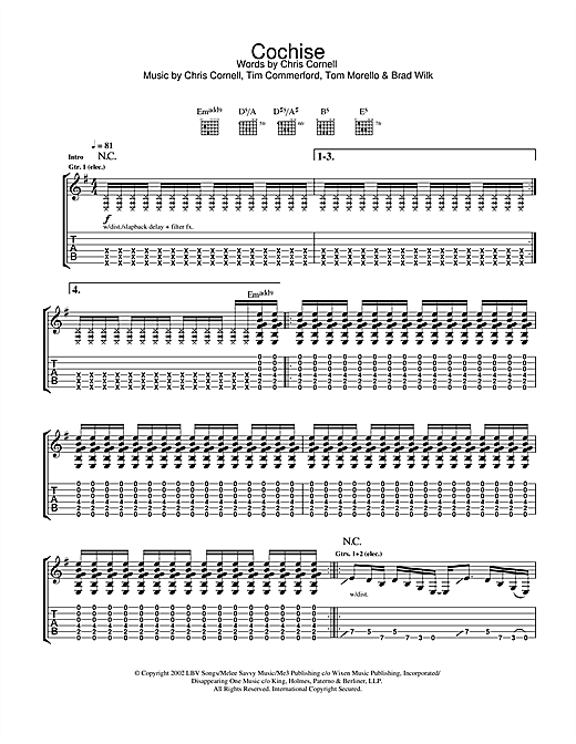 Tablature guitare Cochise de Audioslave - Tablature Guitare
