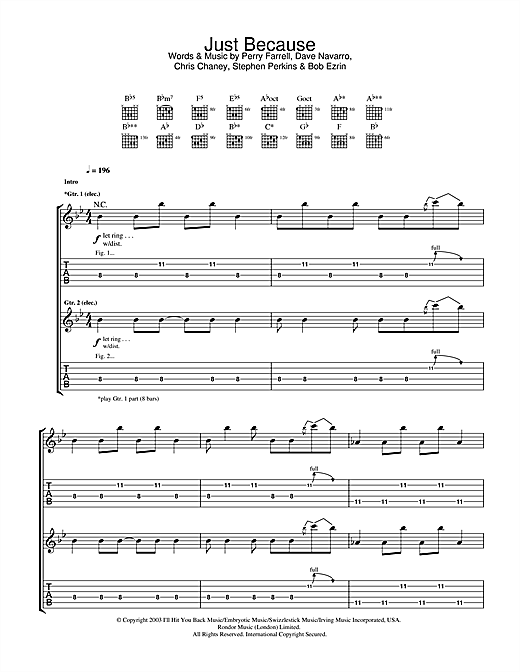 Tablature guitare Just Because de Jane's Addiction - Tablature Guitare