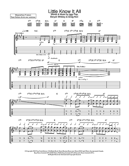 Little Know It All (Guitar Tab)