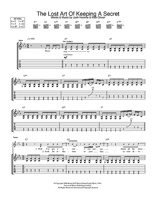 The Lost Art Of Keeping A Secret (Guitar Tab)