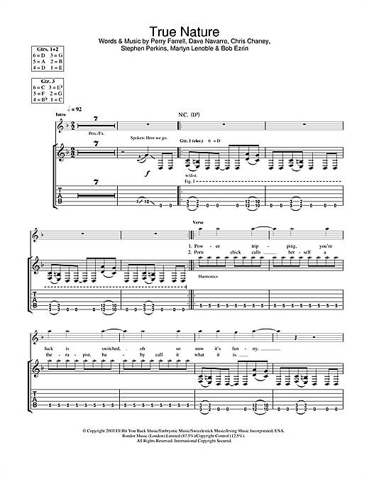 Tablature guitare True Nature de Jane's Addiction - Tablature Guitare