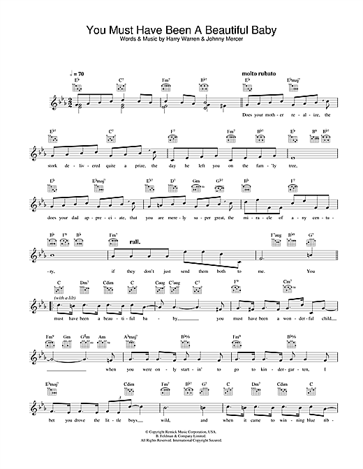You Must Have Been A Beautiful Baby (Lead Sheet / Fake Book)