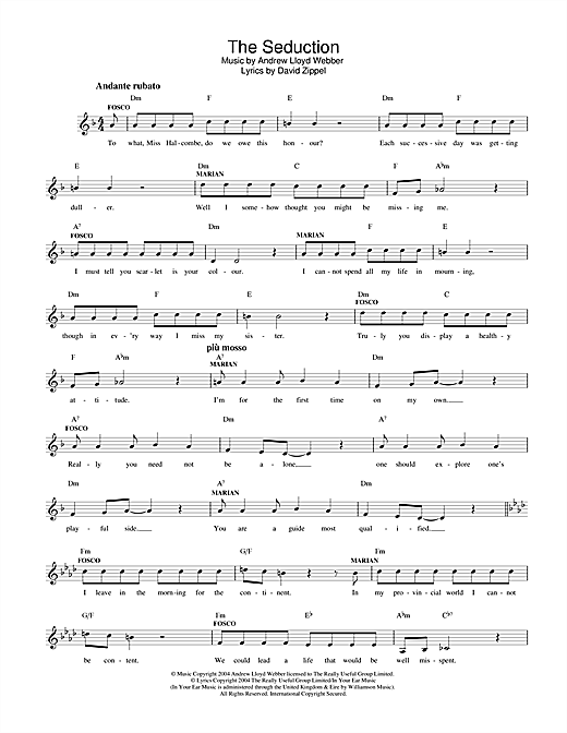 The Seduction (from The Woman In White) Sheet Music