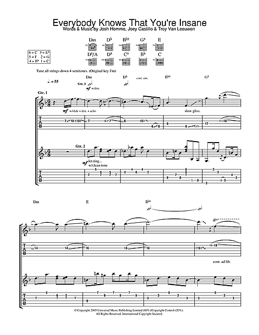Everybody Knows That You're Insane Sheet Music