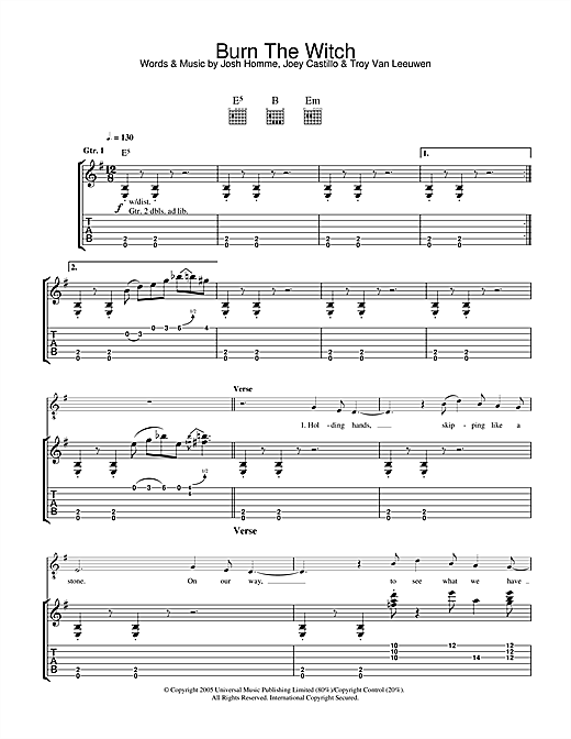 Burn The Witch Sheet Music