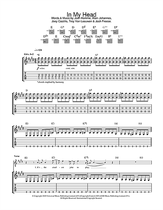 Tablature guitare In My Head de Queens Of The Stone Age - Tablature Guitare