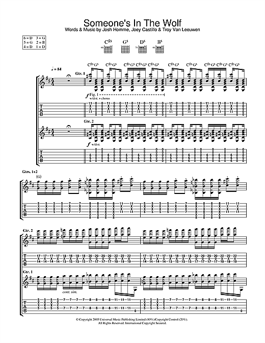 Tablature guitare Someone's In The Wolf de Queens Of The Stone Age - Tablature Guitare