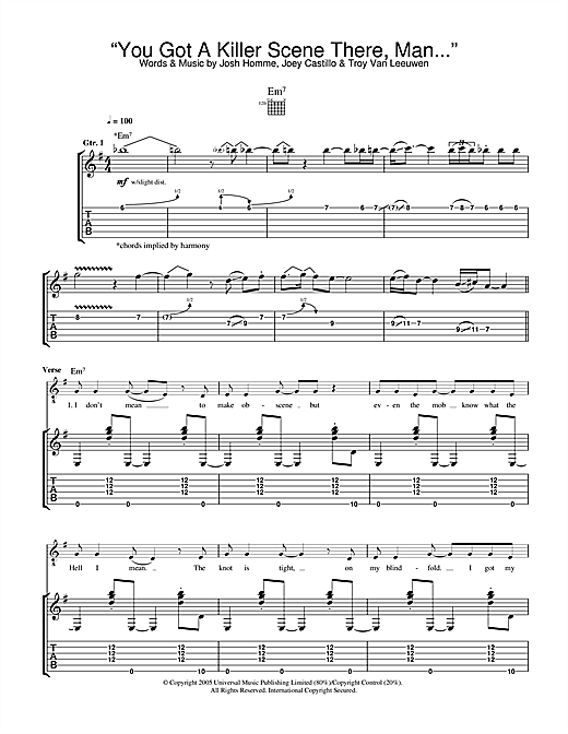You Got A Killer Scene There, Man Sheet Music