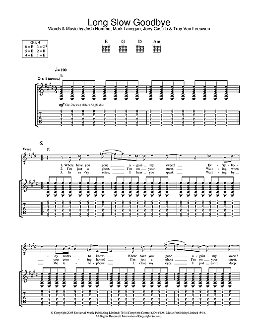 Long Slow Goodbye Sheet Music