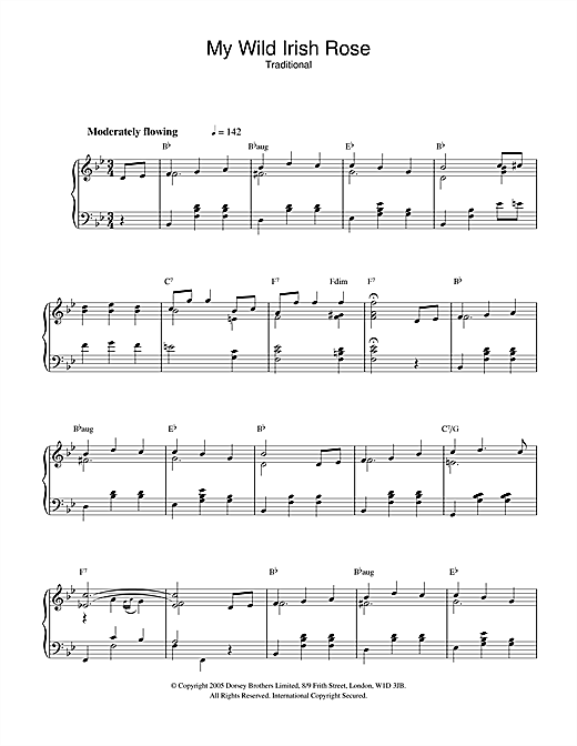 Partition piano My Wild Irish Rose de Traditional - Piano Solo