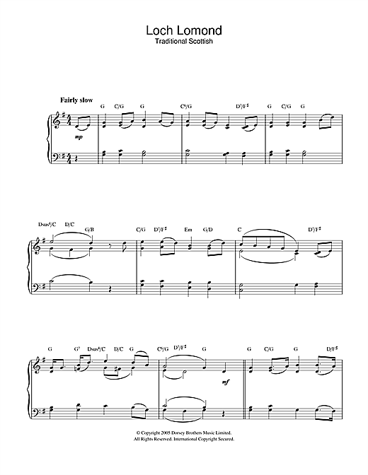 Loch Lomond Sheet Music