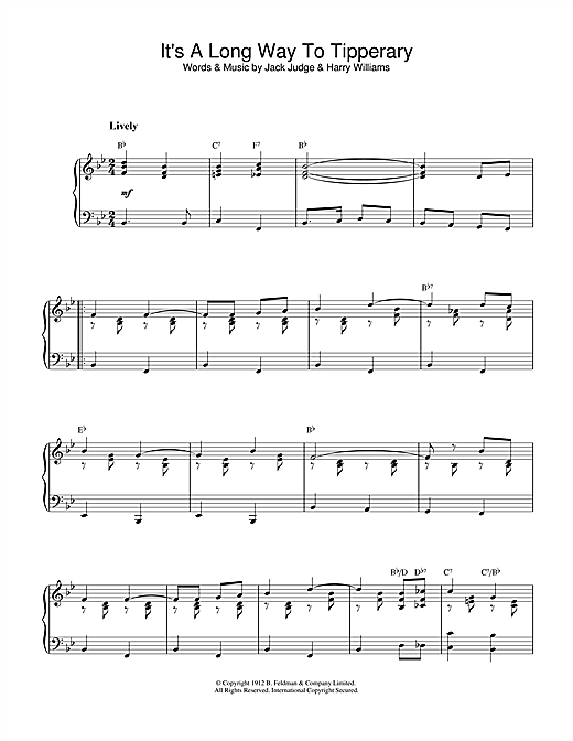 Partition piano It's A Long Way To Tipperary de Jack Judge - Piano Solo
